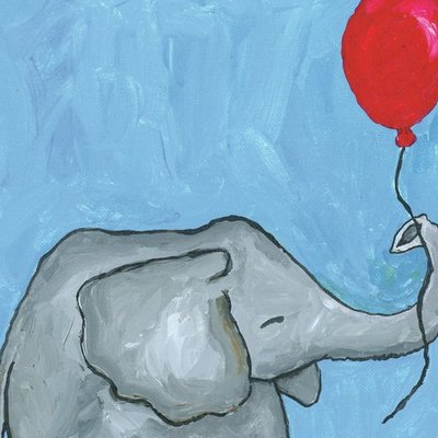 Elephant with a red balloon