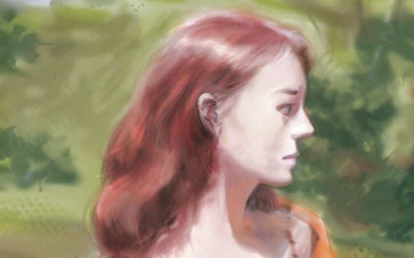 Its weird that the people here seem do prefer the realistic style more than my children's book style. Which stye so you prefer ? The title basically means I've been sick but I'm painting this.  - beautiful, distant, gables, heroine, mother, pretty, redhead