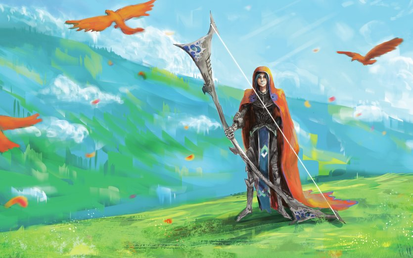 turned our really ugly but i thought maybe i'll just share it : ( - archer, birds, bow, cloak, clouds, hill, hillside