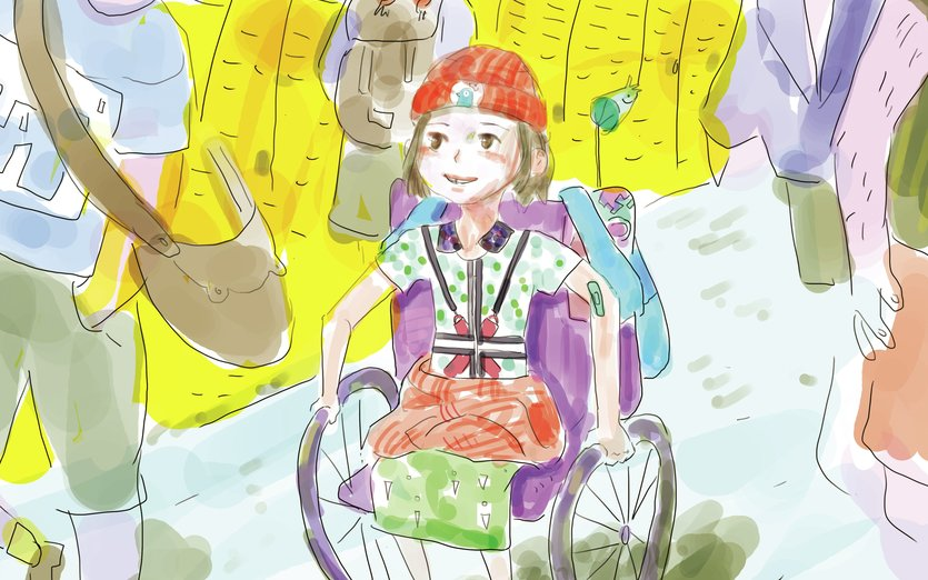 Shorebird contacted me to do a piece with a wheelchair because it seems there are none on Storybird. I thought it was an amazing idea ! Then i got really busy and sick so i took 3 weeks to make this. Also I need you help, I joined a contest. Please subscribe to my comic. Link in comments : ) - disability, girl, school, wheelchair