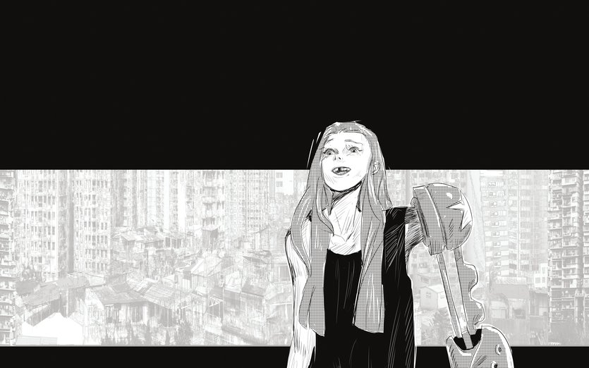 I love comics and I love colors but manga is so powerful because its only black and white. The emotion just hits you harder. - apocalyptic, black, cyborg, dystopia, emotion, fiction, gap
