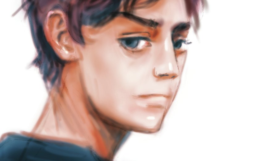 I decided to draw a boy today. I finally got better a bit at drawing ears. Have a great week and keep writing those awesome stories ! - behind, boy, brother, first, gaze, goodbye, handsome