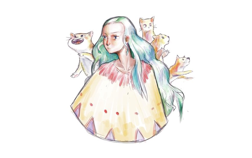 This picture is dedicated to everyone who is a cat lady at heart. Be one !  - anime, cat, cats, cute, happy, kitten, lady