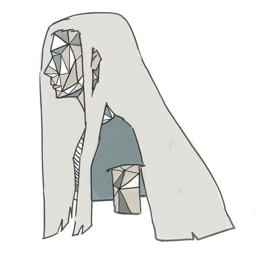 I wanted to make this art for abstract and mysterious stories maybe. Hope you like it. The title means Triangle Girl.  - abstract, faceless, girl, hair, long, mood, triangle