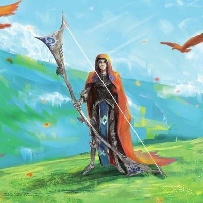 Female Archer on Hillside
