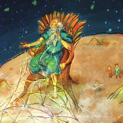 Man on the Moon Weaving Dreams
