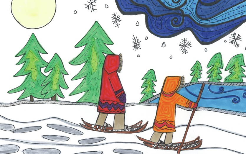 Hiking on snowshoes during the winter is a lovely way to see the land - adorable, art, blue, bright, cartoon, cartoony, character