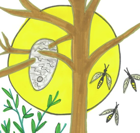 - adorable, art, bee, bees, branches, brown, busy