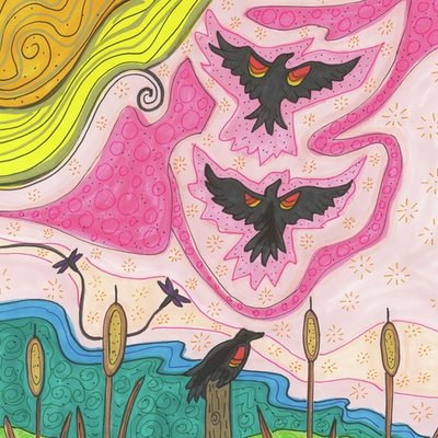 Three red wing blackbirds