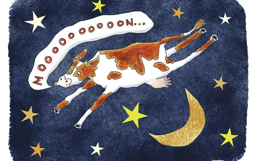 - cow, flying, moon, nursery, rhyme, sky
