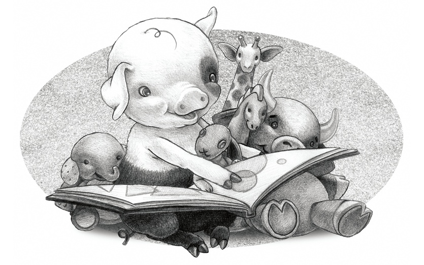 - animals, black, book, bull, bunny, calm, characters