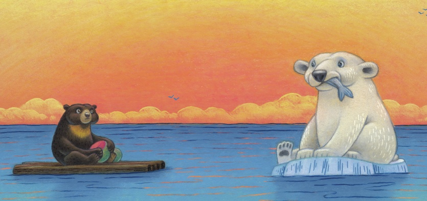 - animals, bears, birds, blue, clouds, drifting, eating