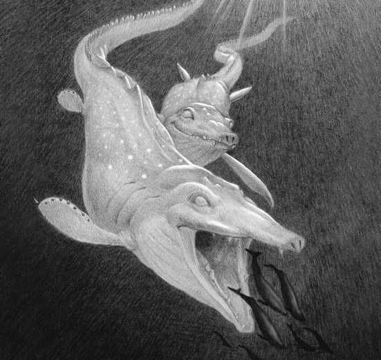 The Timingila is said to have been the most formidable predator in the oceans. It was enormous in size and its favorite food was said to have been whales.  - aggressive, animals, black, calm, characters, creature, dark