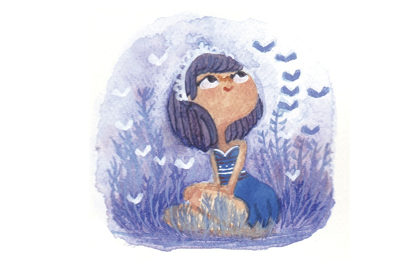 - adorable, alone, bell, blue, bluebell, calm, cartoon