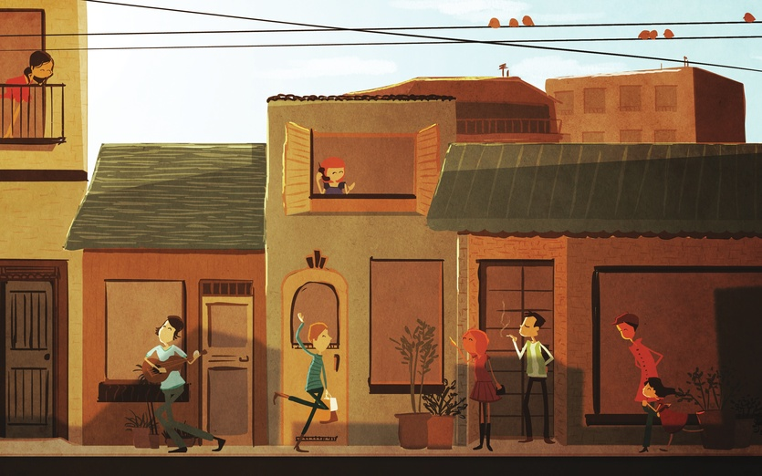 - city, family, happy, love, neighbors, people, street