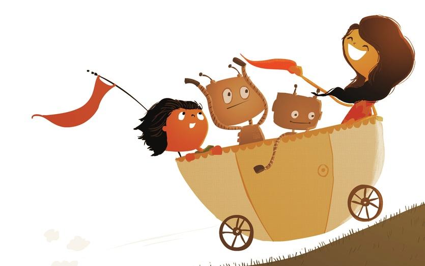 - boy, carriage, fun, girl, happy, hill, play