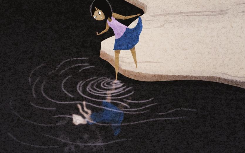 - black, girl, hair, lake, opposite, pool, reflection