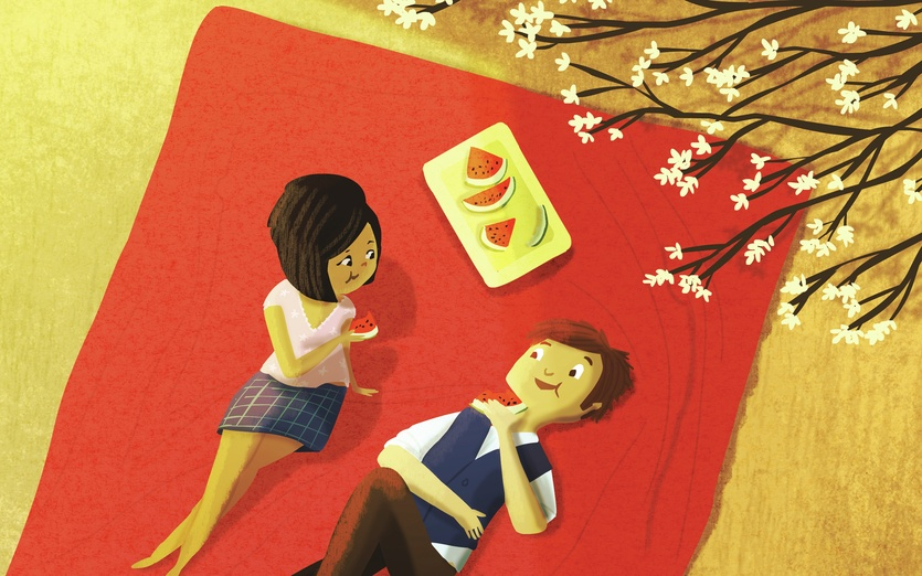 - adorable, blanket, blossom, blue, brown, cartoon, cartoony