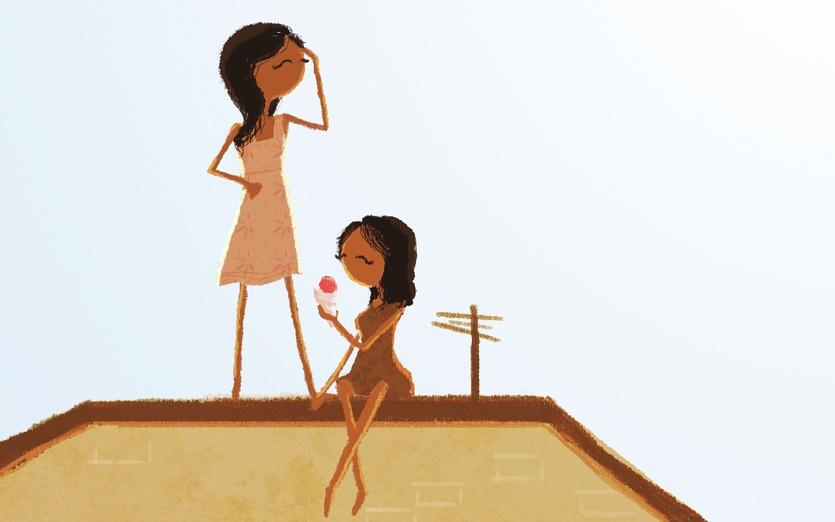 - girls friends roof house sun sunny summer, ice cream, sun