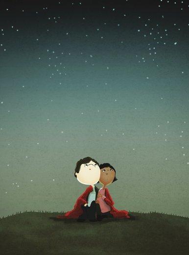 - couple, cute, interracial, love, magical, outdoors, stargazing