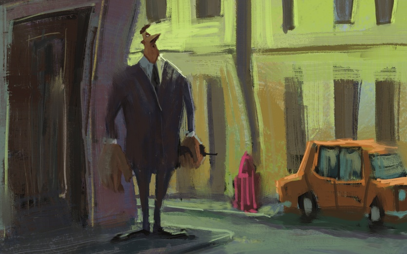 - big, bouncer, buildings, car, cartoony, colored, colorful