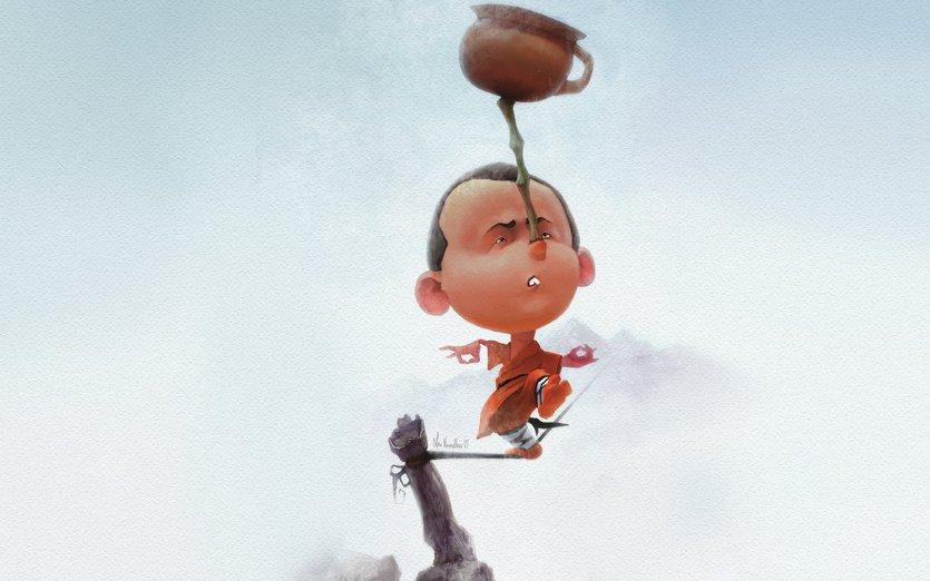 Shaolin monk, making his super study!) - children, kids, monk, shaolin, student, study, walk