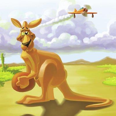 kangaroo holding
