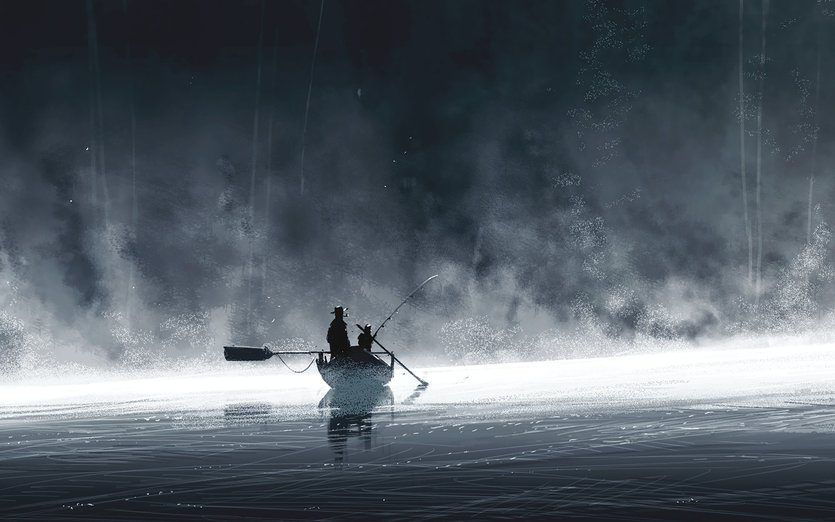 - boat, fishing, fog, forest, lake, mist, morning
