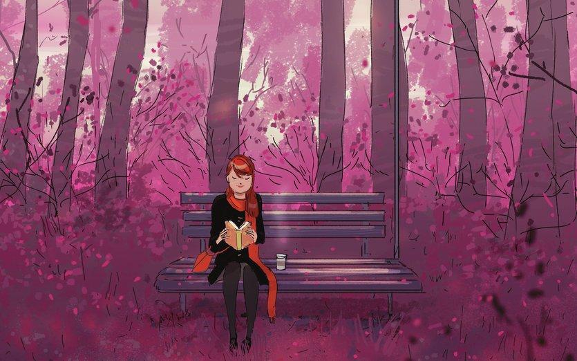 - bench, book, bus, dusk, female, forest, girl