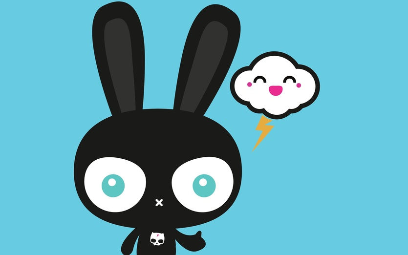 - adorable, adorbs, black, blue, bunny, character, colored