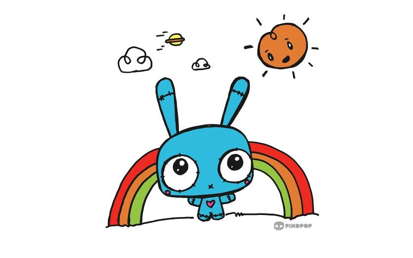 - adorable, blue, bright, brightcolored, brightcolors, bunny, cartoon