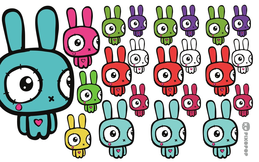 - adorable, adorbs, army, blue, bunnies, bunny, characters