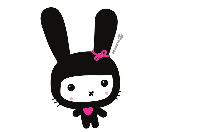 - adorable, adorbs, black, bunny, character, colored, colorful