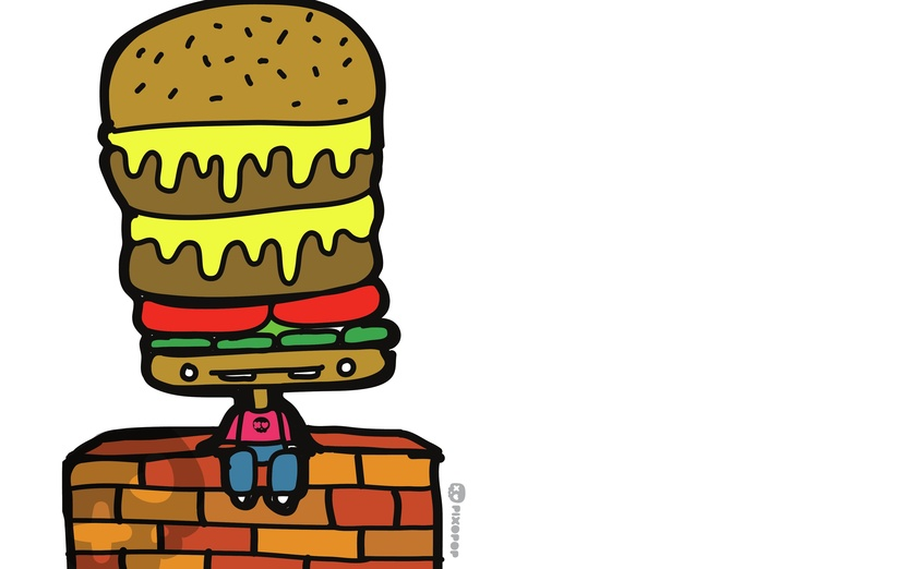- adorable, adorbs, black, brown, burger, character, cheese