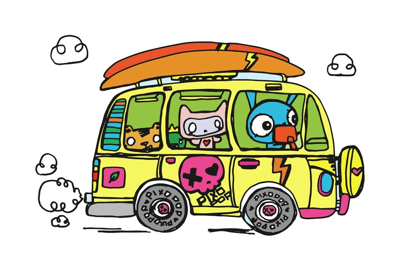 - adorable, brightcolored, brightcolors, bus, cartoon, cartoony, characters