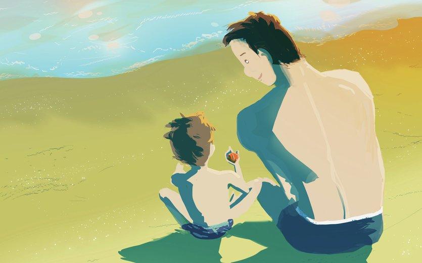 - explain, father, kid, play, sand, sea, seaside