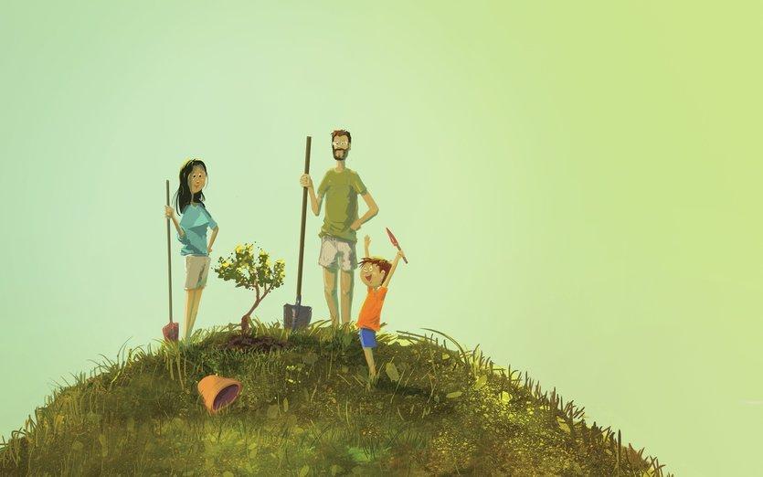 - child, dad, dig, freedom, hill, jar, joy