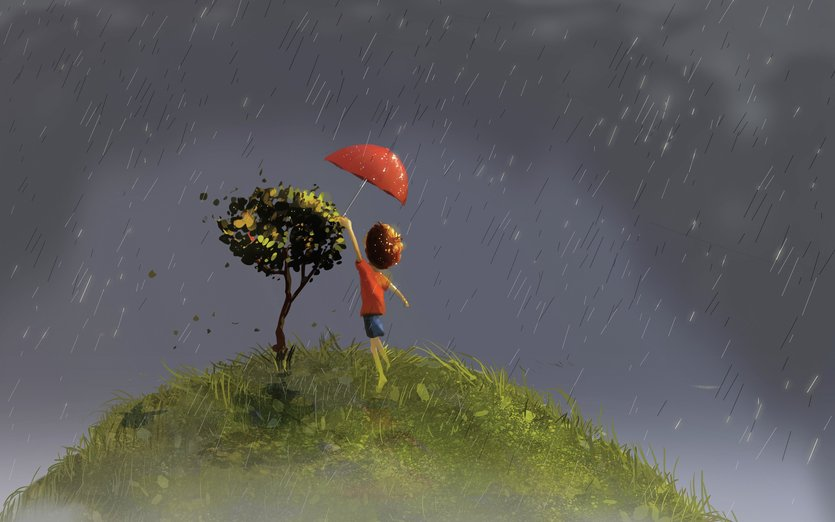 - child, cure, hill, kid, plant, protection, rain