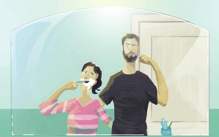 - adorable, affection, bathroom, blue, brightcolored, brightcolors, cartoon