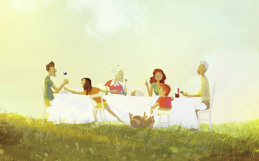 - dog, family, fat, grandfather, grandmother, lunch, summer