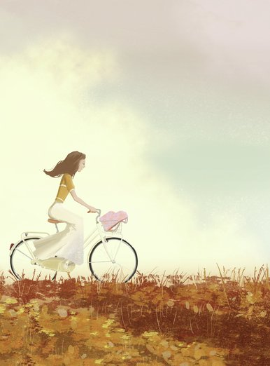 The girl flies on dad's bicycle