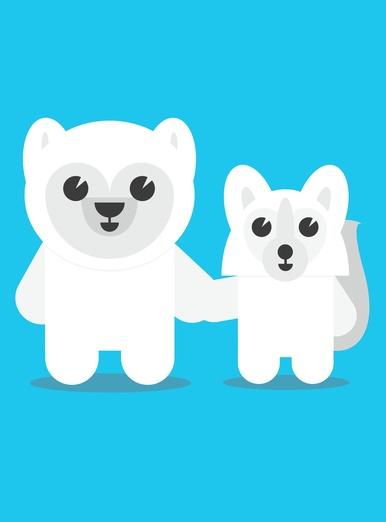 Arctic Fox and Polar Bear Hold Hands
