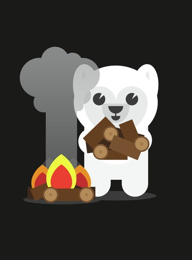 Polar Bear Building A Campfire