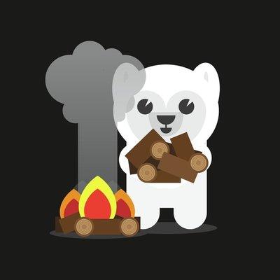 Polar Bear Building A Campfire