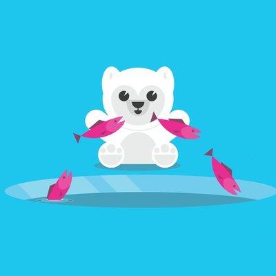 Polar Bear Jumping Fish