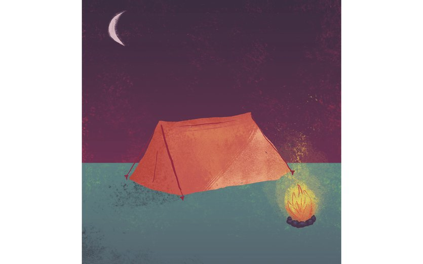- camp, camping, fire, light, moon, night, sky