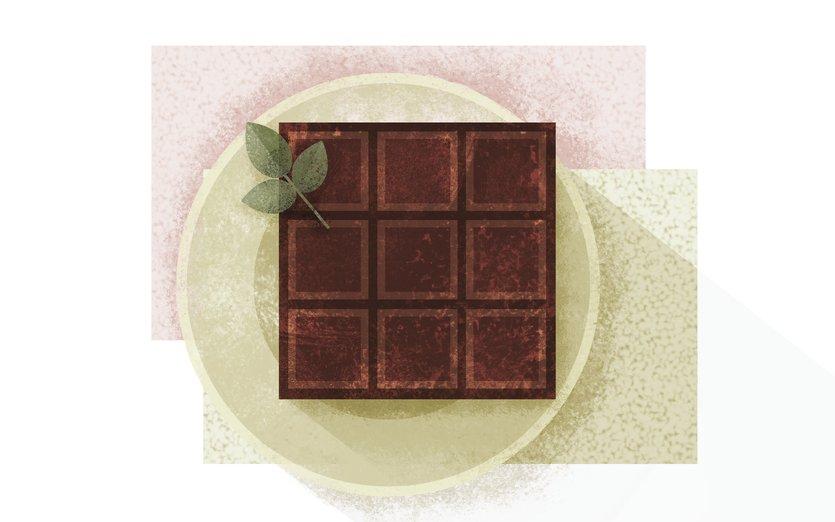 - bar, chocolate, chunk, dark, indulge, mint, plate