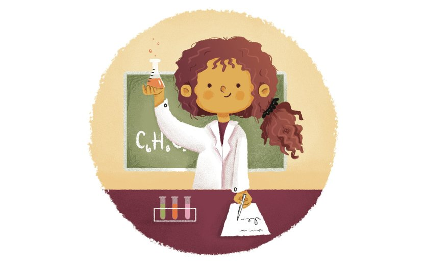 - beaker, chalkboard, chemist, chemistry, girl, kid, science
