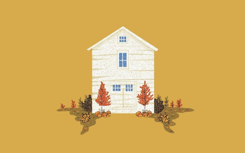 - autumn, fall, house, leaves, orange, pumpkins, trees