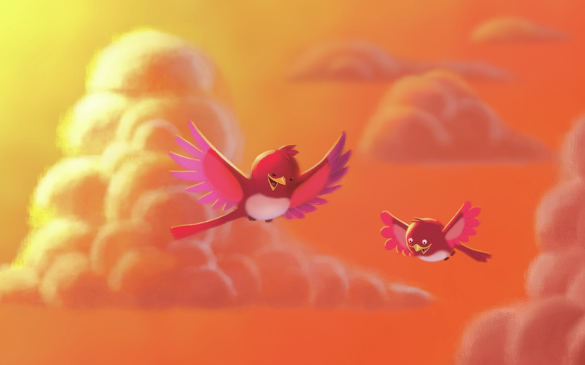 - adorable, beginning, bird, brightcolored, brightcolors, cartoon, cartoony